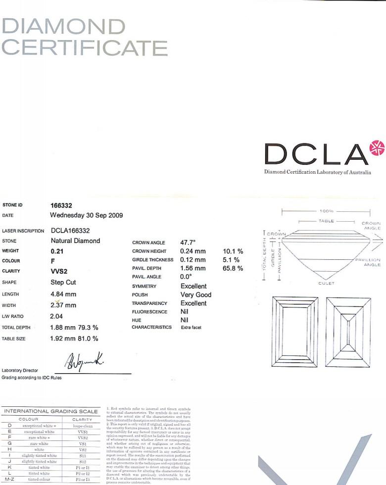 Baguette Cut Diamond 0.21ct F VVS2