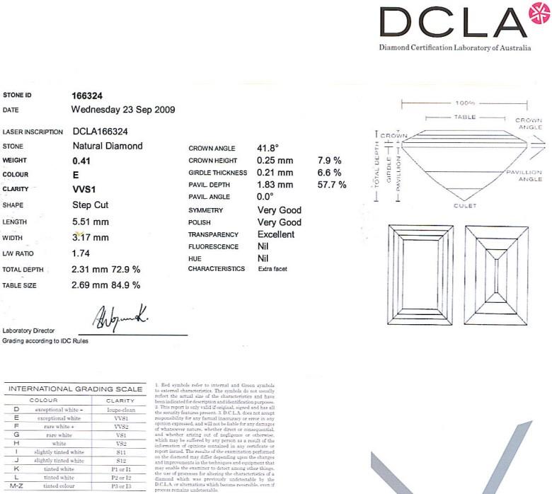baguette Cut Diamond 0.41ct E VVS1