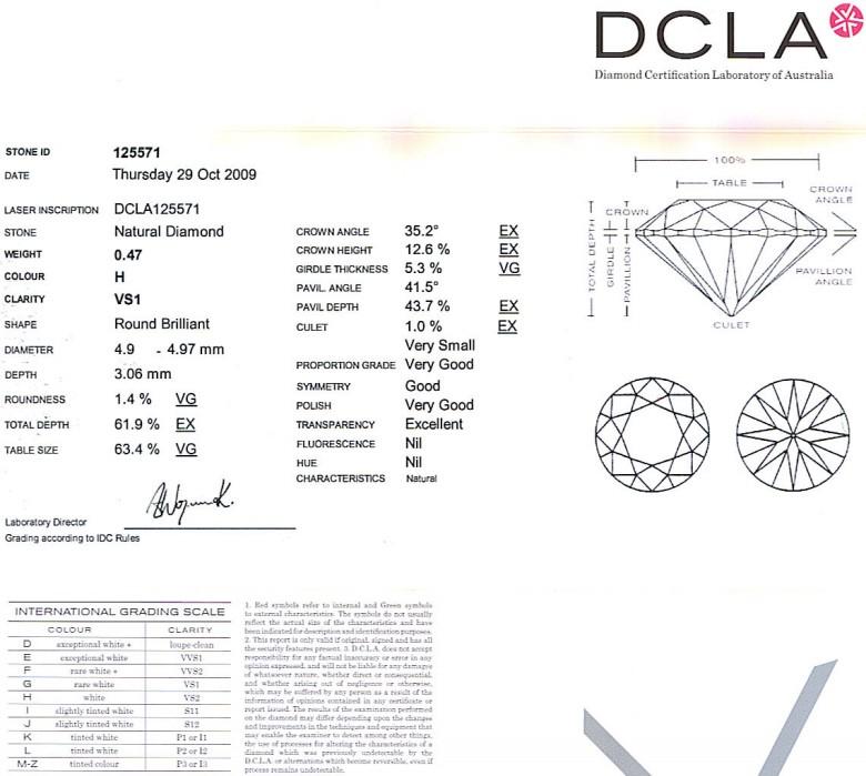 Round Brilliant Cut Diamond 0.47ct H VS1