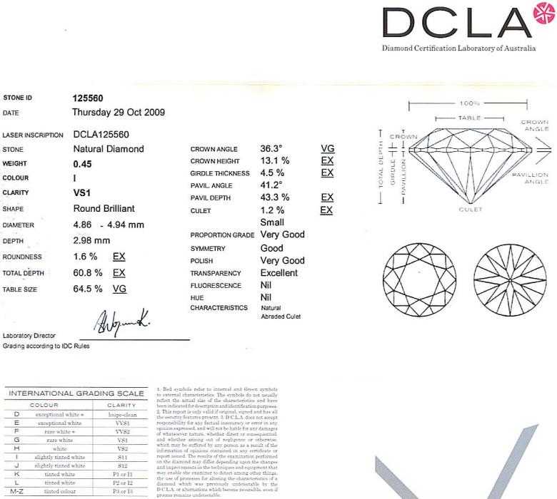 Round Brilliant Cut Diamond 0.45ct I VS1