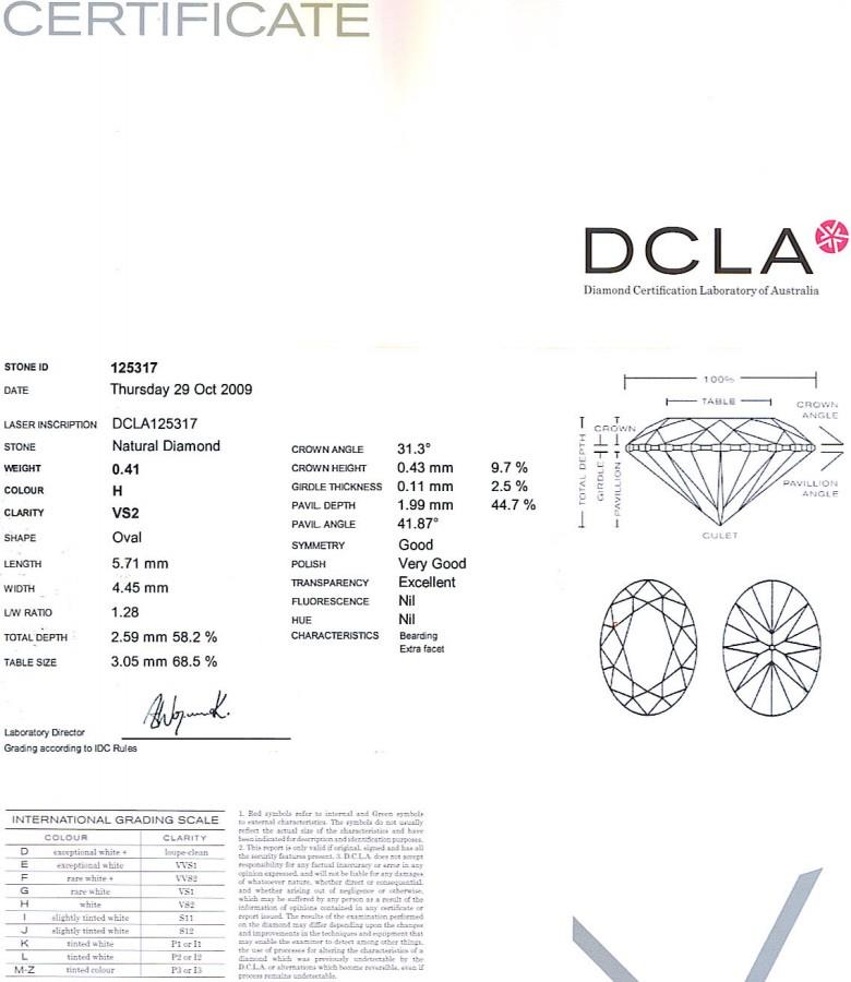 Oval Shape Diamond 0.41ct H VS1
