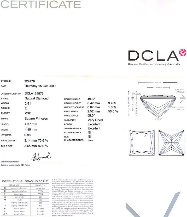 Princess Cut Diamond 0.51ct E VS2