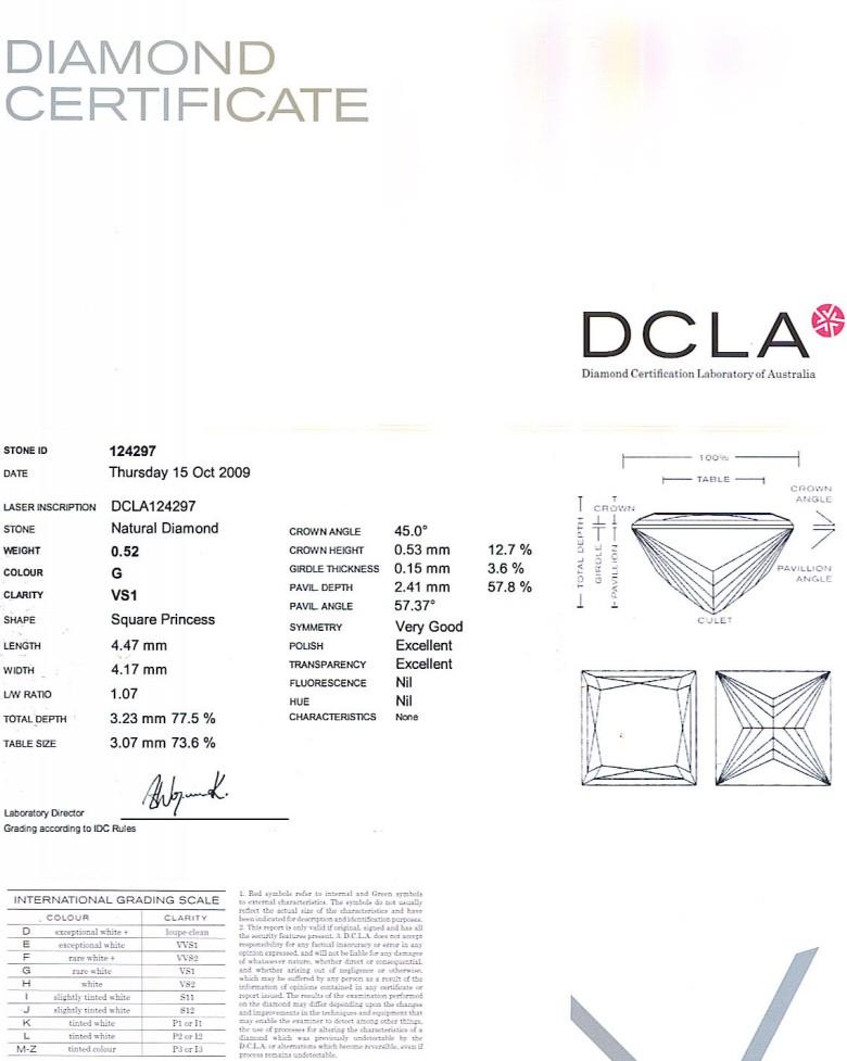 Princess Cut Diamond 0.52ct G VS1
