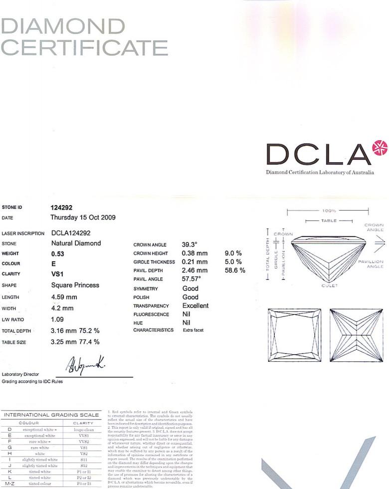 Princess Cut Diamond 0.53ct E VS1