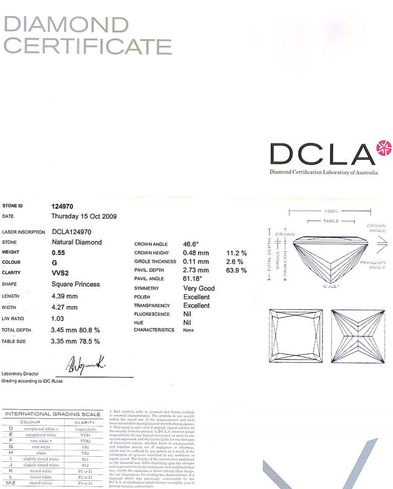 Princess Cut Diamond 0.55ct G VVs2