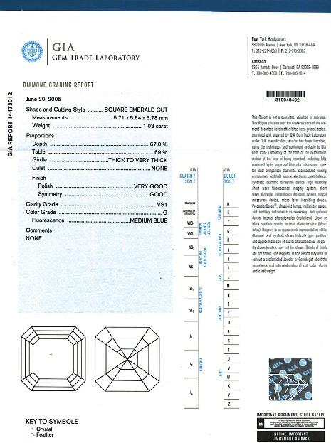 Asscher Cut Diamond FS 157 1.03ct