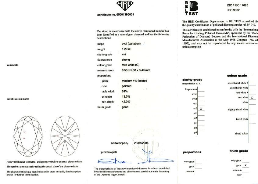 Oval Shape Diamond 1.20ct G VS2 - FS 201