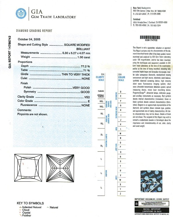 Princess Cut Diamond 1.00ct E Vs2 - PRI 160