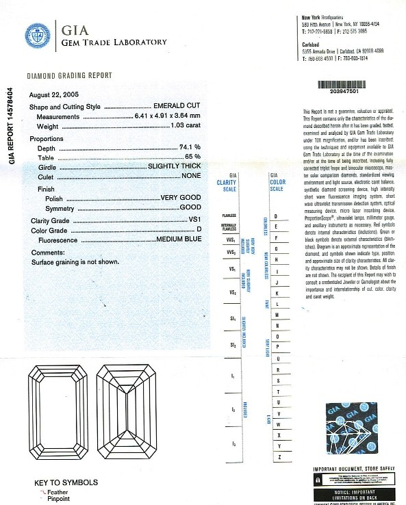 Emerald Cut Diamond 1.03ct D VS1 - FS 199
