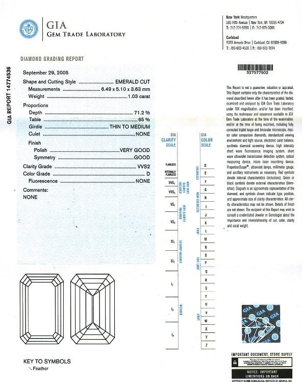 Emerald Cut Diamond 1.03ct D VVS2 - FS 200