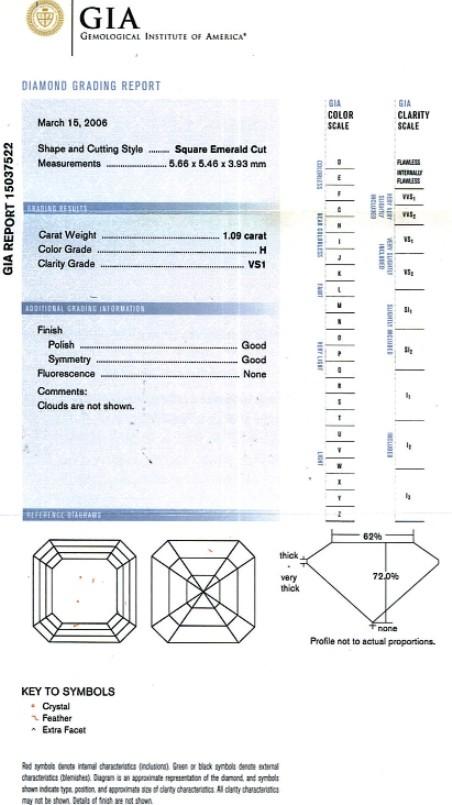 Asscher Cut Diamond 1.09ct H VS1 - FS 195