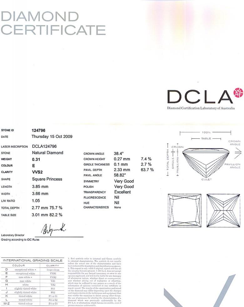 Princess Cut Diamond 0.31ct E VVS2