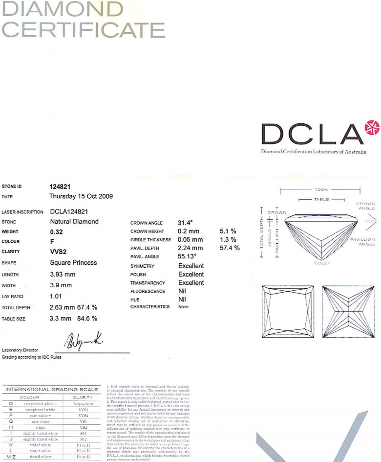 Princess Cut Diamond 0.32ct F VVS2