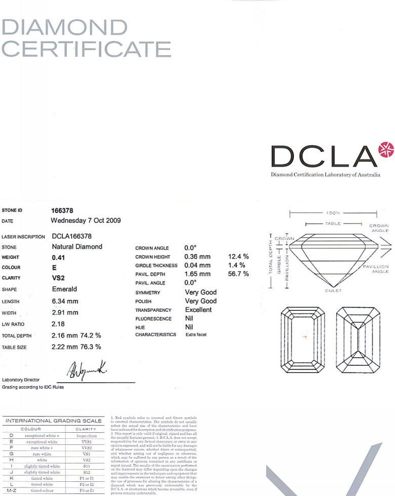 Emerald Cut Diamond 0.41ct E VS2