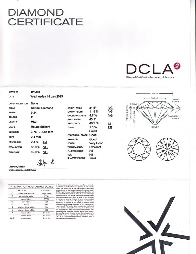 Round Brilliant Cut Diamond 0.21ct F VS1
