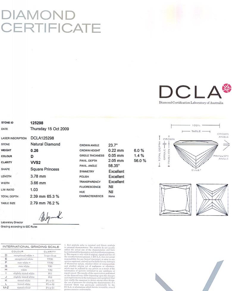 Princess Cut Diamond 0.26ct D VVS2