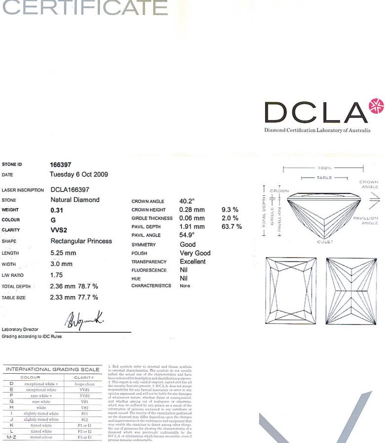 Baguillion Cut Diamond 0.31ct G VVS2
