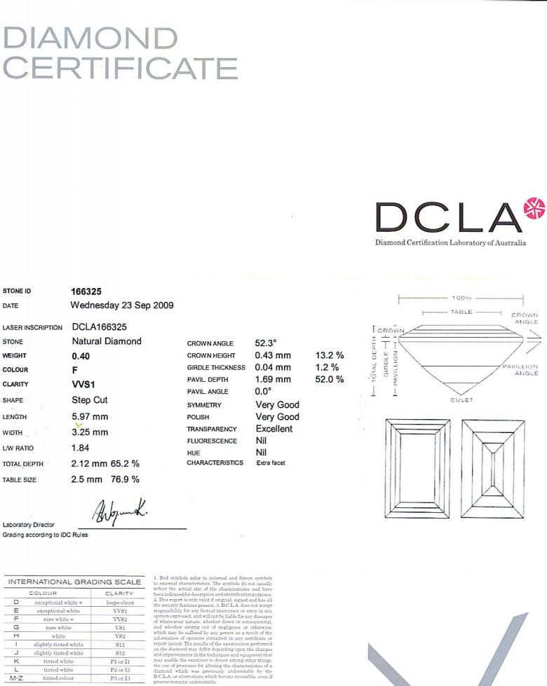baguette Cut Diamond 0.40ct F VVS1