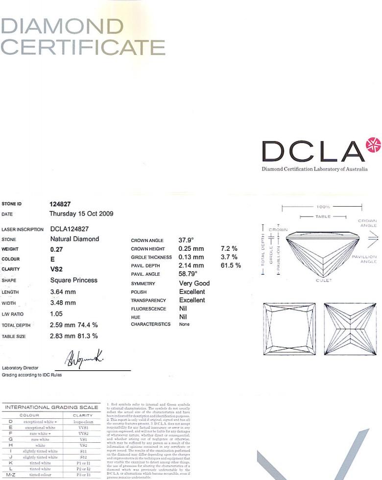 Princess Cut Diamond 0.27ct E VS2
