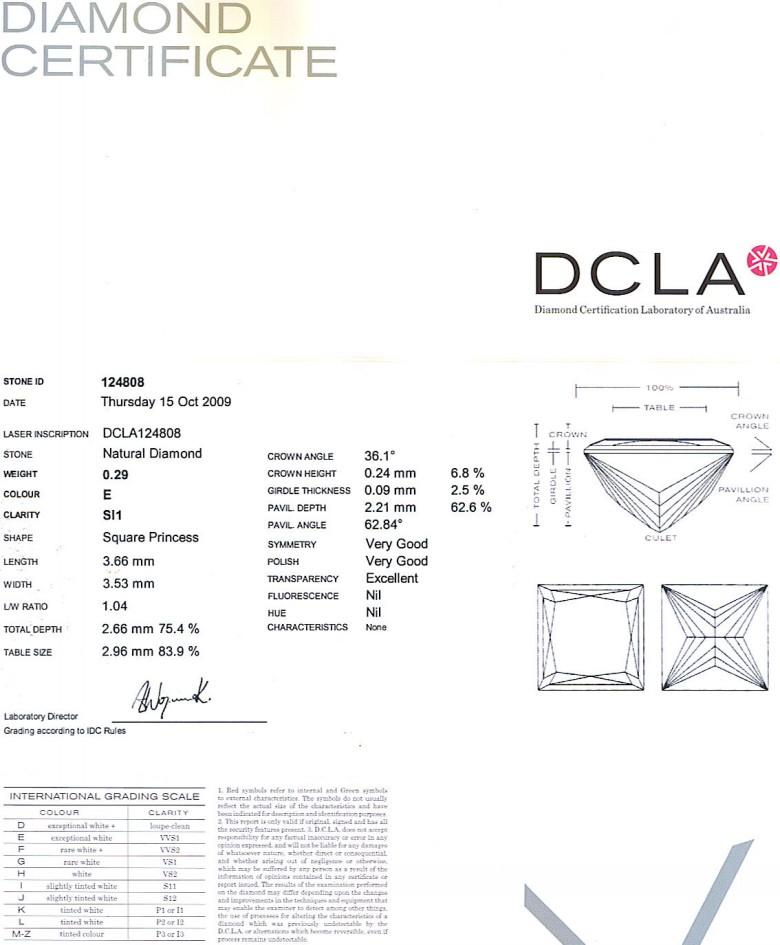 Princess Cut Diamond 0.29ct E SI1