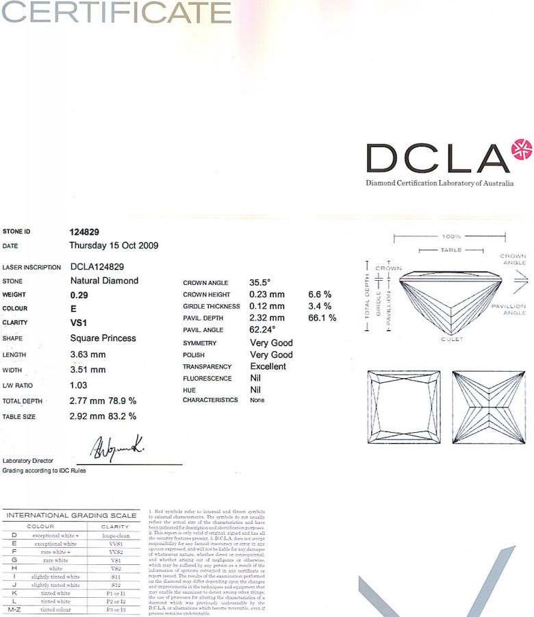 Princess Cut Diamond 0.29ct E VS1