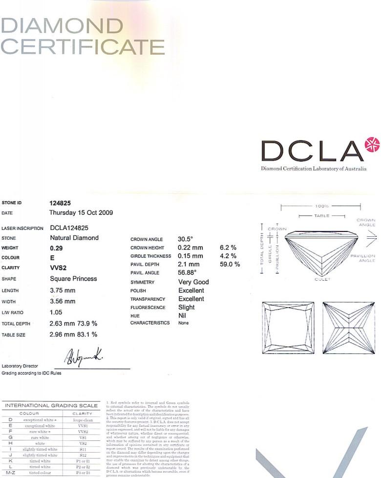Princess Cut Diamond 0.29ct E VVS2