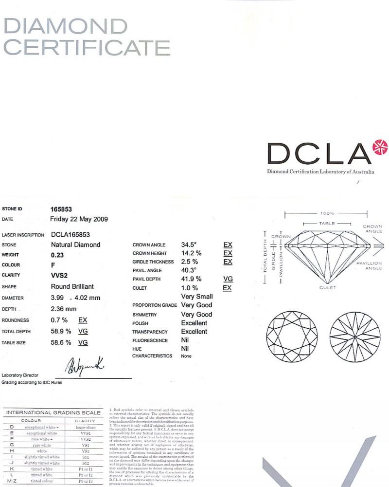 Round Brilliant Cut Diamond 0.23ct F VVS2
