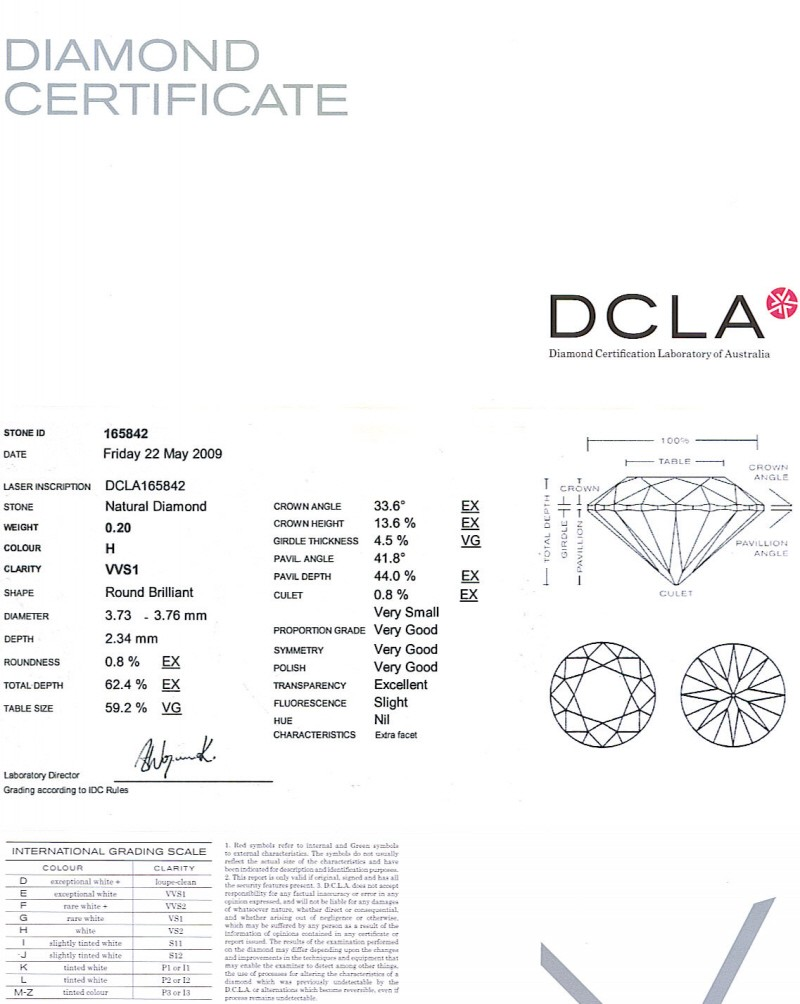 Round Brilliant Cut Diamond 0.20ct H VVS1