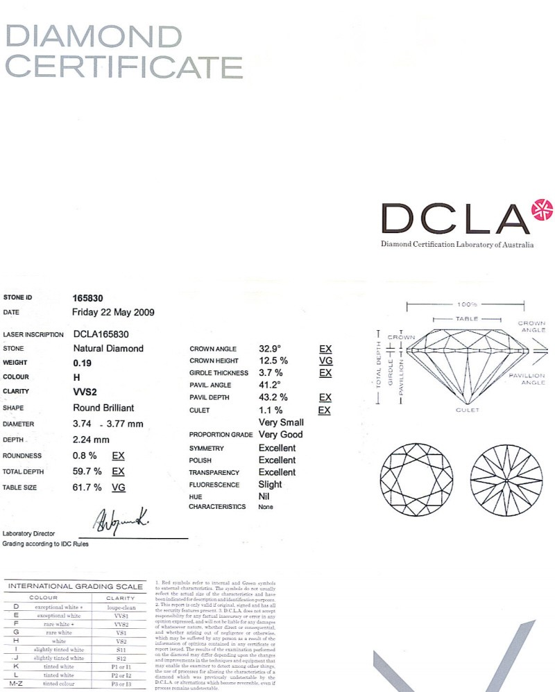 Round Brilliant Cut Diamond 0.20ct H VVS2