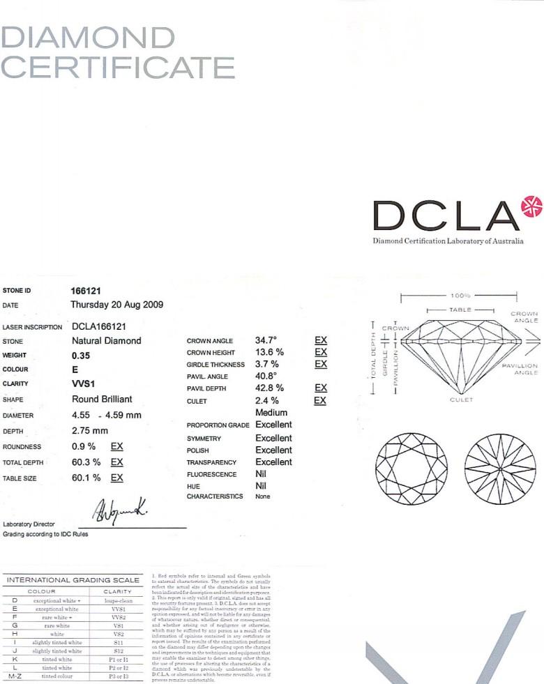 Round Brilliant Cut Diamond 0.35ct E VVS1
