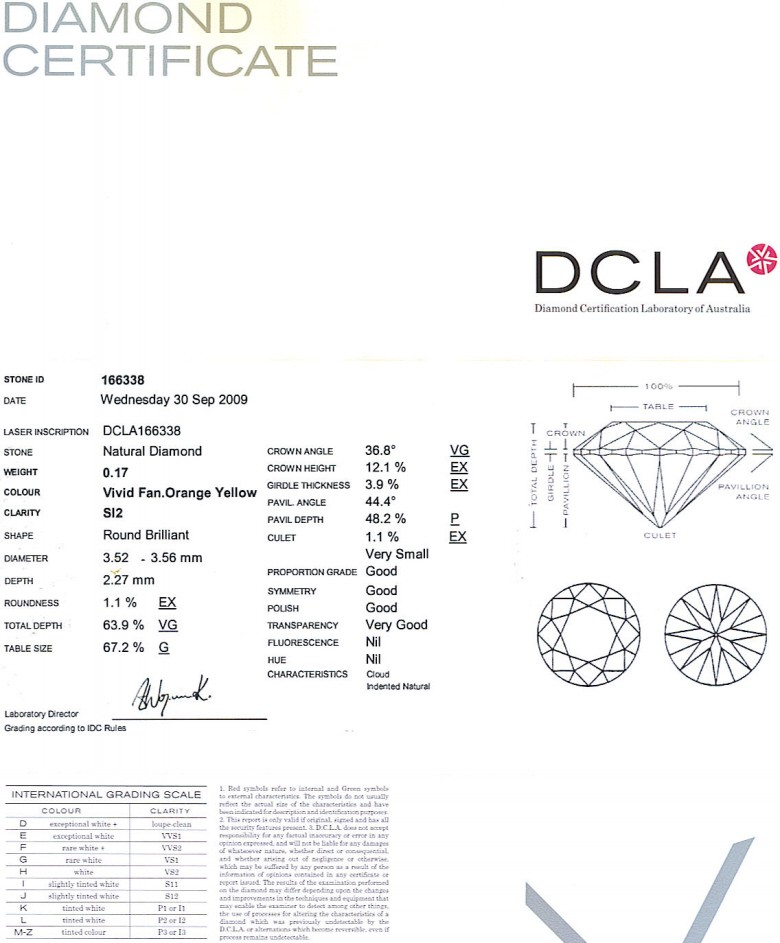 Round Brilliant Cut Diamond 0.17ct Vivid Fancy Orange Yellow SI2