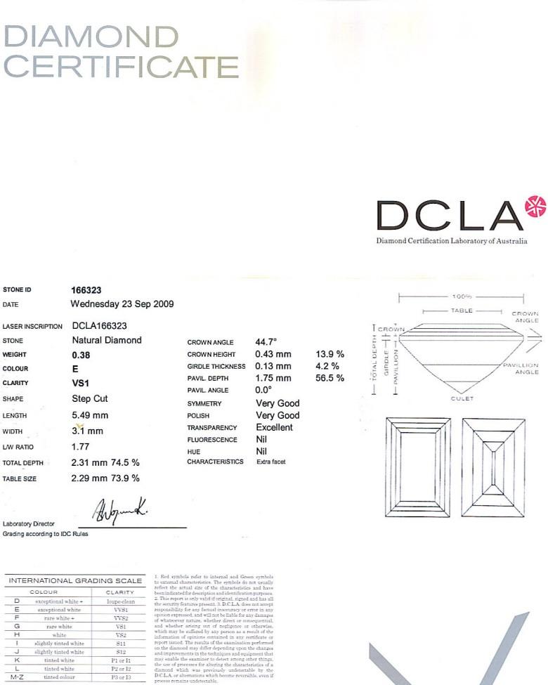 Baguette Cut Diamond 0.38ct E VS1