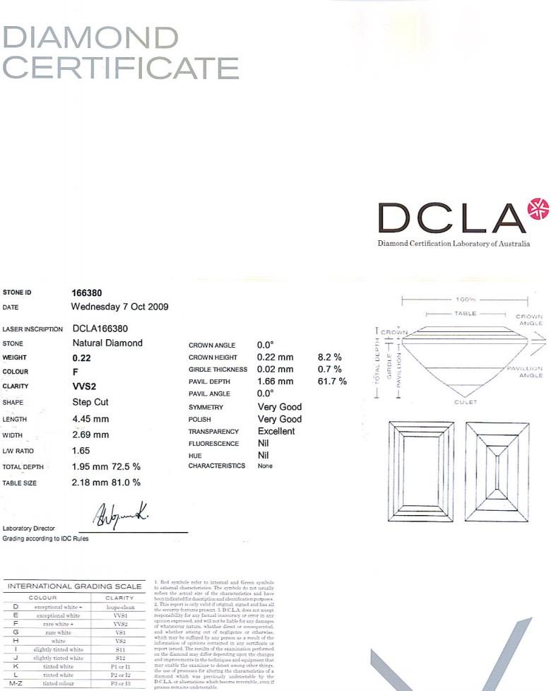Baguette Cut Diamond 0.22ct F VVS2