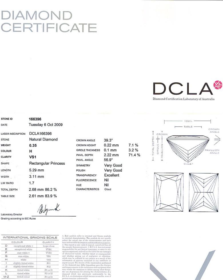 Baguillion Cut Diamond 0.35ct H VS1