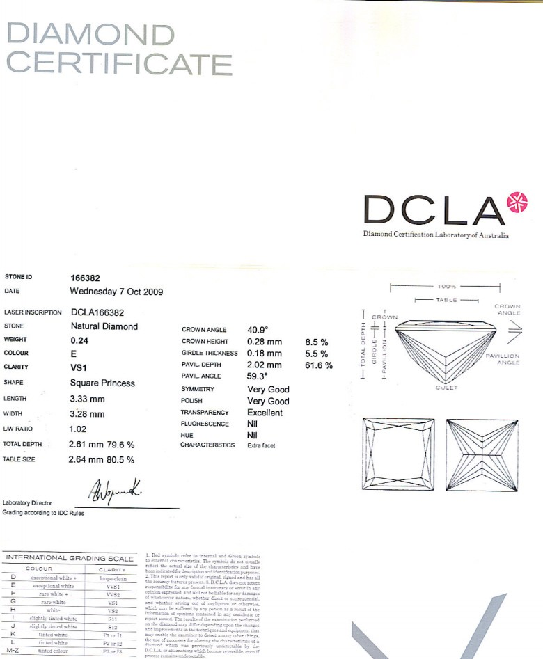 Princess Cut Diamond 0.24ct E VS1
