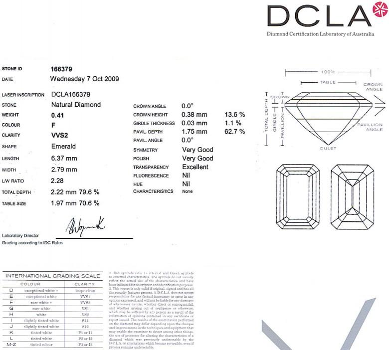 Emerald Cut Diamond 0.41ct F VVS2