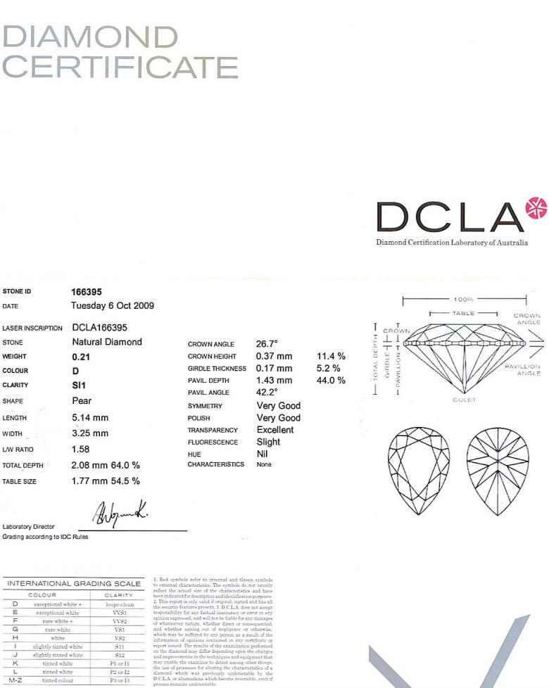Pear Shape Diamond 0.21ct D SI1