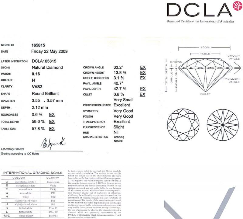 Round Brilliant Cut Diamond 0.16ct H VVS2