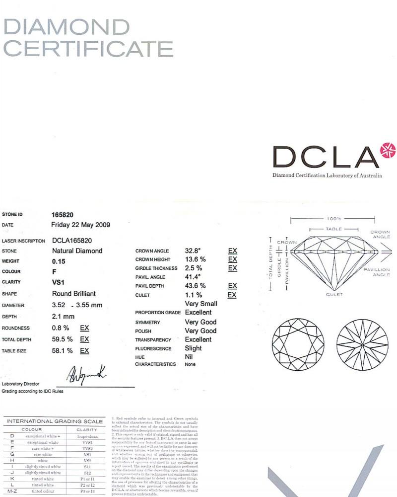 Round Brilliant Cut Diamond 0.15ct F VS1
