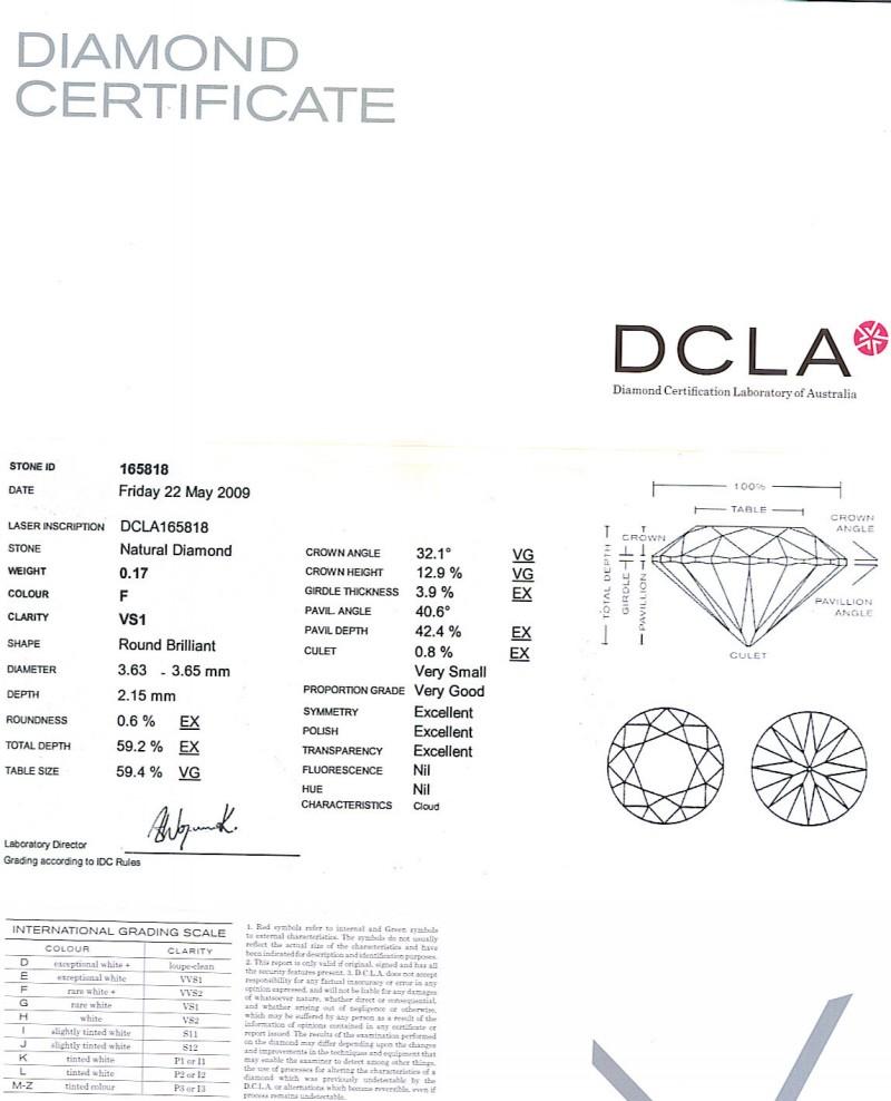Round Brilliant Cut Diamond 0.17ct F VS1