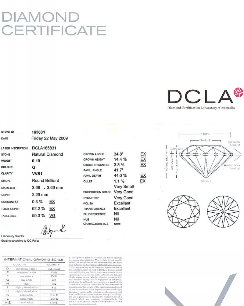 Round Brilliant Cut Diamond 0.19ct G VVS1