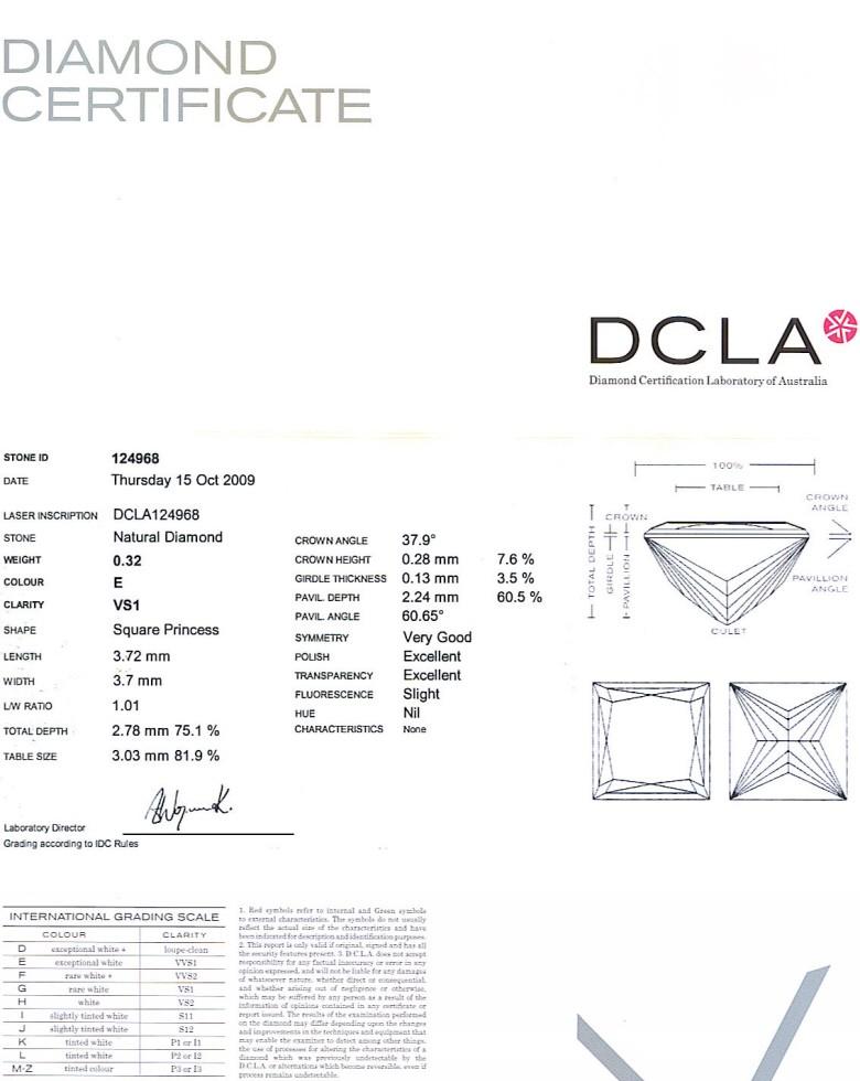 Princess Cut Diamond 0.32ct E VS1