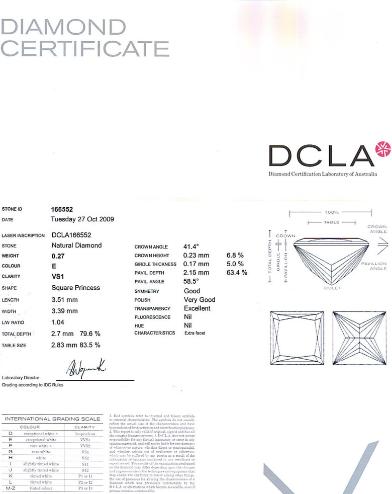 Princess Cut Diamond 0.27ct E VS1