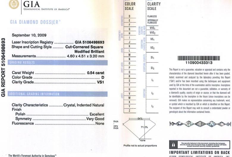 Radiant Cut Diamond 0.54ct D VS1