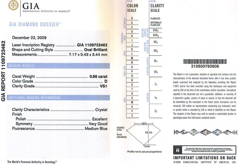GIA Oval Shape Diamond 0.86ct D VS1