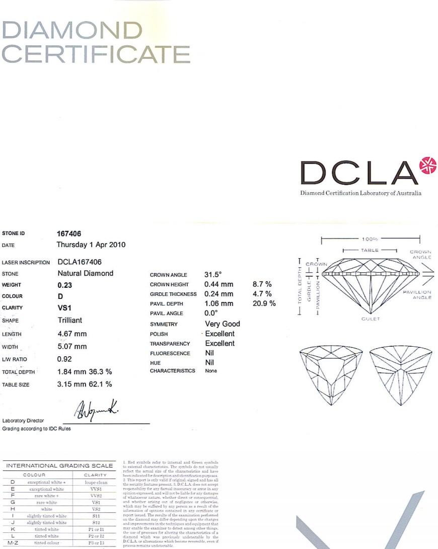 Trilliant Cut Diamond 0.23ct D VS1