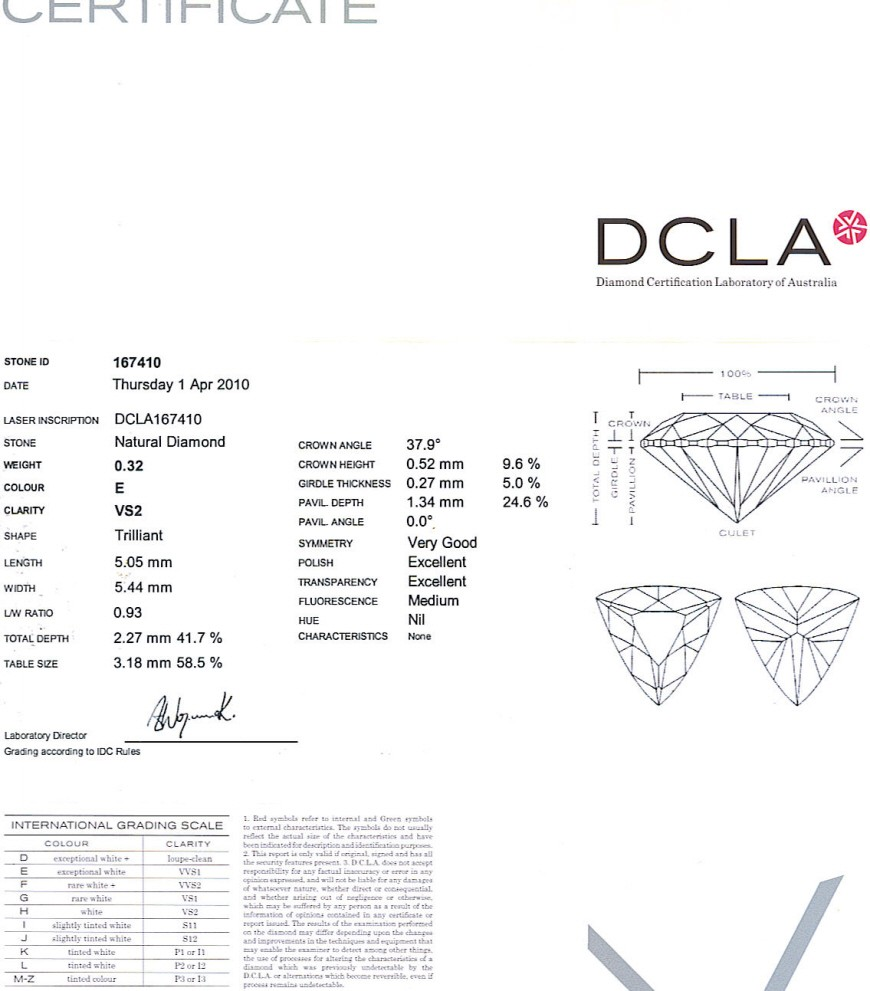 Trilliant Cut Diamond 0.32ct E VS2