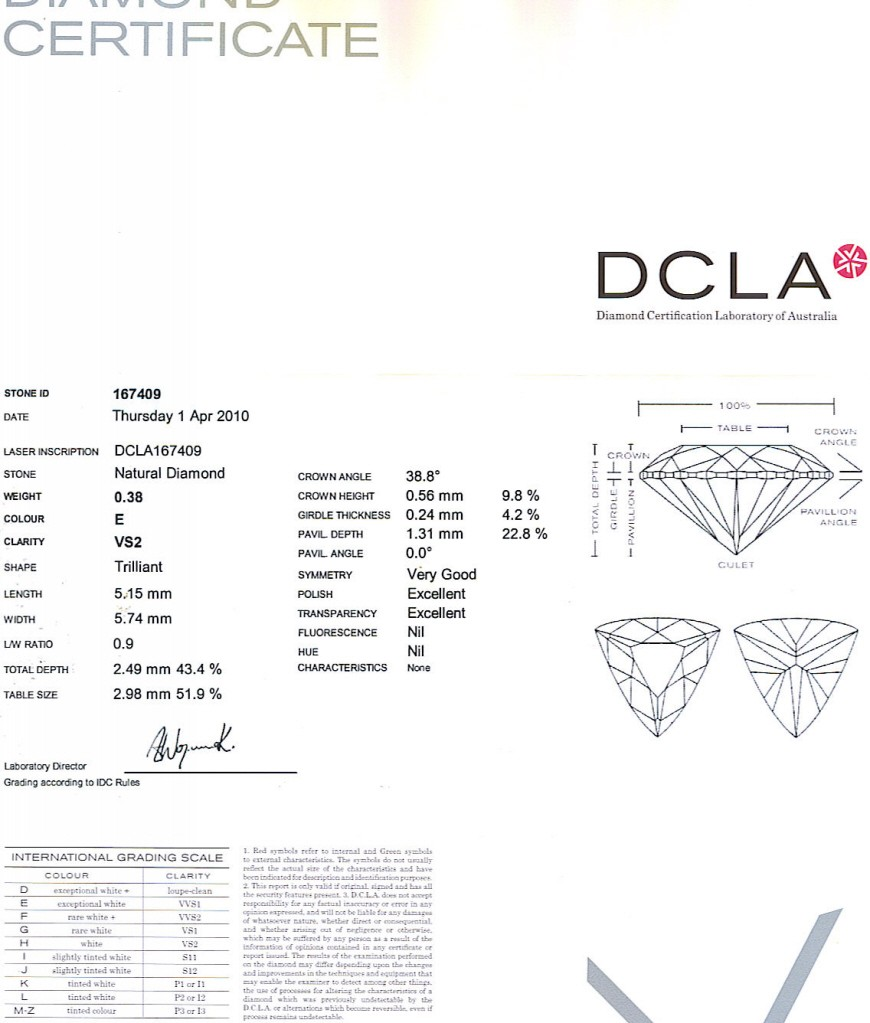 Trilliant Cut Diamond 0.38ct E VS2