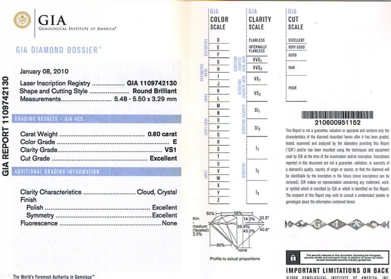 GIA Round Brilliant Cut Diamond 0.60ct E VS1