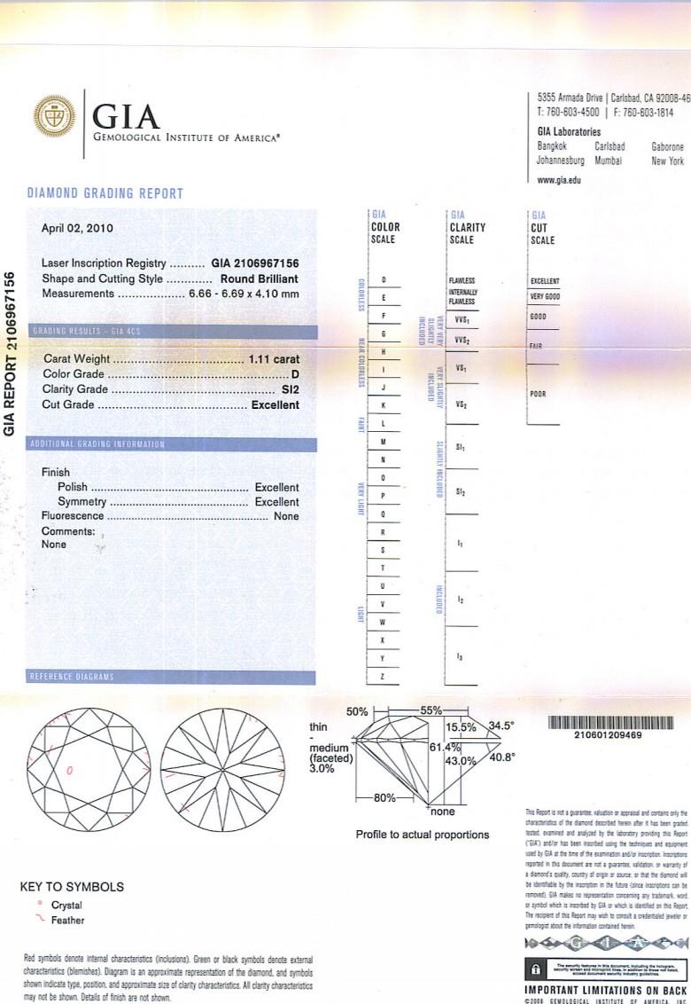 Round Brilliant Cut Diamond 1.11ct D SI2